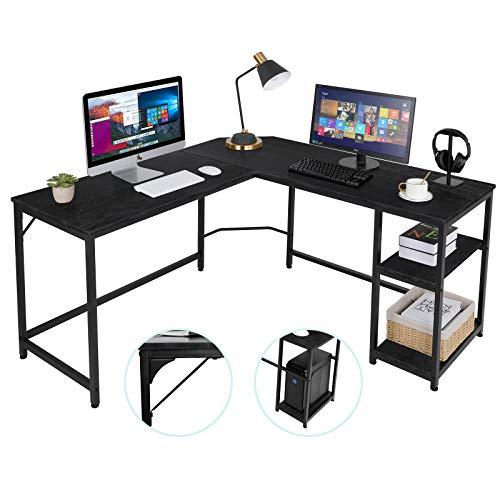 AuAg L-förmiger Computertisch Home Office Ecktisch Industrie Gaming Schreibtisch Büro Arbeitszimmer Workstation mit verstellbaren Regalböden für Home Office, platzsparend Indoor & Outdoor (schwarz)