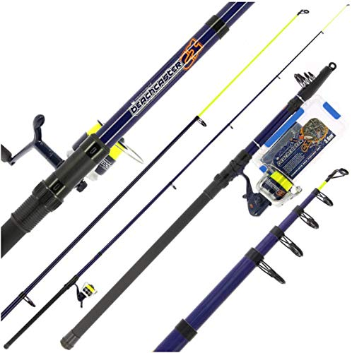 BZS Angling Pursuits Juego de caña de pescar telescópica, carrete y accesorios