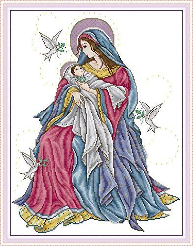 YEESAM ART Kit de punto de cruz con sello para adultos principiantes, virgen y bebé paloma blanca 11 ct 46 × 58 cm Kit de costura de bordado con patrones de costura de Navidad (Virgen)