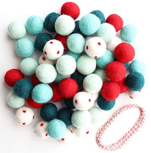Mini Felt Factory | Felt Ball Garland DIY Set Christmas Green Red Mint Bright Colors | Wool Poms Winter Seasonal Home Decor | White Craft Project Supplies Kit | 120-pack 20mm & ~20 Ft String (2x10')
