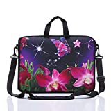 11-Inch to 12-Inch Neoprene Laptop Sleeve Case Bag with shoulder strap For 11', 11.6', 12' Ultrabook/Acer/Asus/Dell/HP/Toshiba/Lenovo/Chromebook (Pink flower)