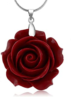 35mm Red Simulated Coral Carved Rose Flower Pendant with 16inches+2inches Extender Chain