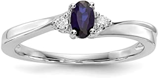 JewelryWeb   Plata de ley (925/1000)  plata de ley redondo   HI zafiro azul diamante blanco