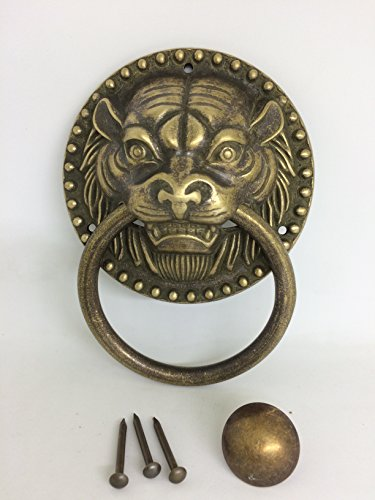 Ranbo Best Tiger Door Knocker Copper Finish Authentic Renovator's Supply Rust Resistant Finish for Tiger Head Knocker Antique gate/Beast of Pure Copper Antique Handle (4 inch)