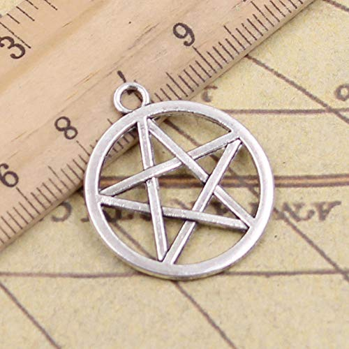 WANM 15Pcs Charms Star Pentagram 24X24Mm Antique Silver Color Pendants Making Diy Handmade Tibetan Finding Jewelry For Bracelet