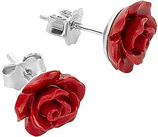 Orecchino Donna In Argento 925 A Perno, Con Rosa Nera In Resina. Nickelfree, Anallergico. Prodotto Artigianale Made In Italy