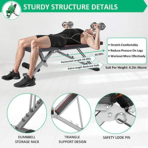 OUNUO Adjustable/Foldable Weight Bench-2020 Upgraded Version, Multi-Purpose Bench Press for Full Body, Incline/Decline Strength Training Workout Bench