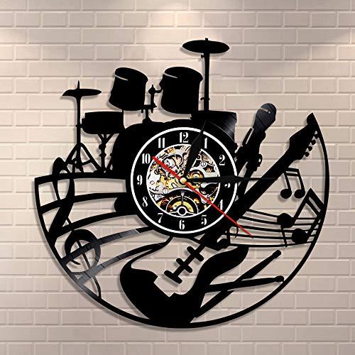 BFMBCHDJ Gitarren- und Schlagzeug-Kits Wanduhr Gitarrenspieler Musik Schallplattenuhr Rockmusikinstrument Gitarre Wandkunst Rock n Rock Geschenk