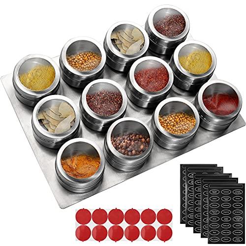 Magnetic Spice Jars Set,Homgen 12Pcs Magnetic Spice Jars with Labels...