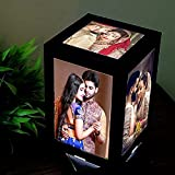 PhotoFactory Customized LED Table Lamps with 5 Personalized Photo Frames Rotating Cube for Anniversary Gift, Couple, Birthday, Wedding, Home & Bedroom Decorative Light Frame Set, 10 x 10 x 15.5 cm(Black,Set of 1)