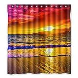 Dalliy Brauch Strand Sonnenuntergang Wasserdicht Polyester Shower Curtain Duschvorhang 167cm x 183cm