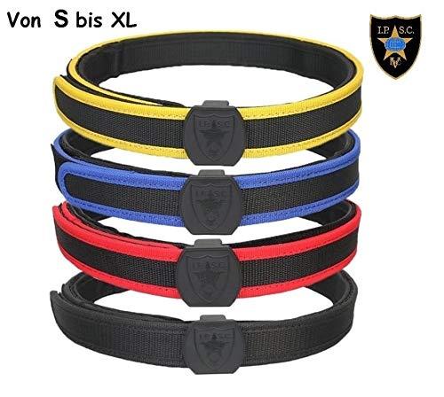 Maximtac IPSC Klett-Gürtel/Koppel in 4 Farben und 4 Größen S-M-L-XL mit Untergürtel und Obergürtel sehr stabil und steif mit Klettverschluss Farbe Rot, Größe M Taillenumfang 90-110 cm