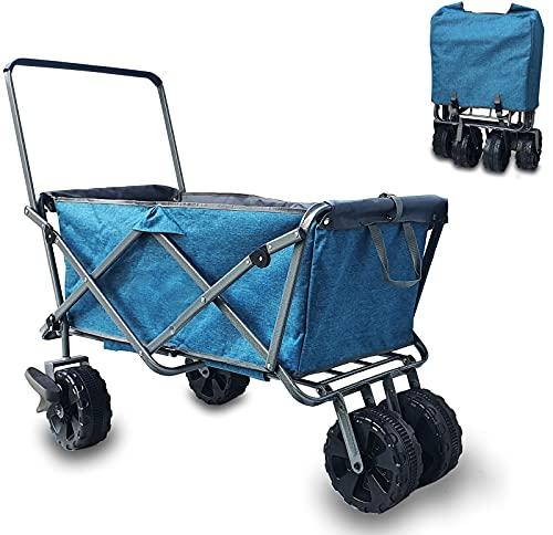 Faltbarer Bollerwagen |Strandwagen| klappbarer Handwagen | Transportwagen | 360° Reifen | mit Tasche | Transportkarre Gerätewagen mit Fußbremse