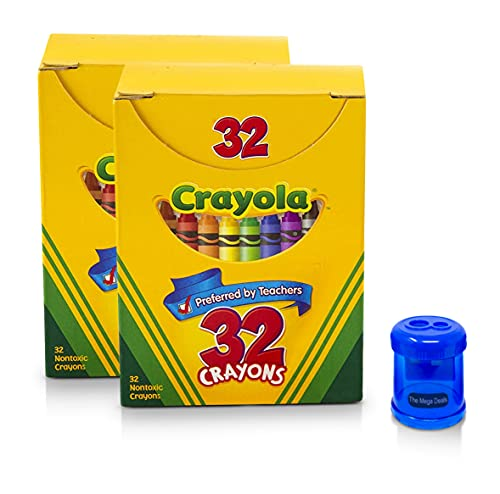 32 Count Crayons, Assorted Colors, Art Tools for Kids, 2 Pack + Crayon and Pencil Sharpener