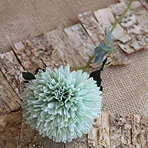 Lacheln Artificial Dahlia Silk Flowers Ball Shaped with Long Stem Pack of 6 for Wedding Party Home Floral Decor (Light Green)