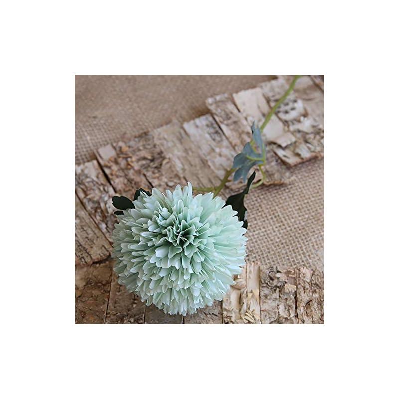 silk flower arrangements lacheln artificial dahlia silk flowers ball shaped with long stem pack of 6 for wedding party home floral decor (light green)