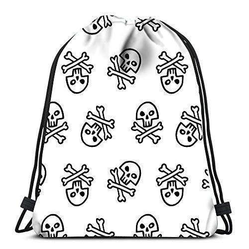 IUBBKI Mochila bolsa de gimnasio deportiva, estilo Doodle, calavera pirata, tibias cruzadas, Halloween para mujeres, hombres, niños de gran tamaño