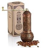 Molinillo de café, molinillo de estilo turco recargable con molinillo ajustable, molinillo de café manual con mango, molinillo antiguo de metal con manivela, grosor ajustable (cobre antiguo)
