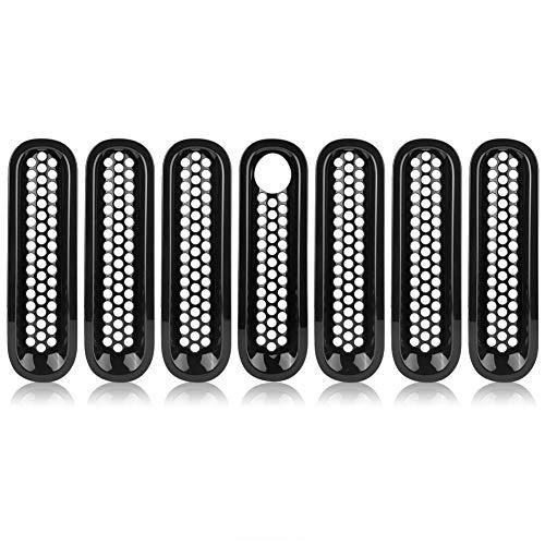 Rejilla Delantera Delaman Rejilla Rejilla de Cubierta de Inserción de Malla para Jeep Wrangler Rubicon Sahara Jk 08-17 Negro 7pcs