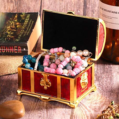 Caja de almacenamiento de joyas sin polvo de metal medieval para escritorio, sala de estar(Red glue)