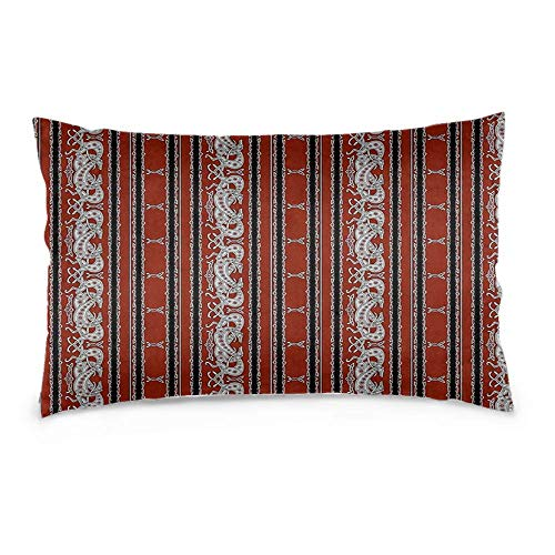 LAVYINGY Cotton Linen Rectangle Decorative Throw Pillow Case Waist Cushion Cover with Invisible Zipper for Couch, Sofa and Bed Celtic Greyhound Dogs Burgundy and Grey