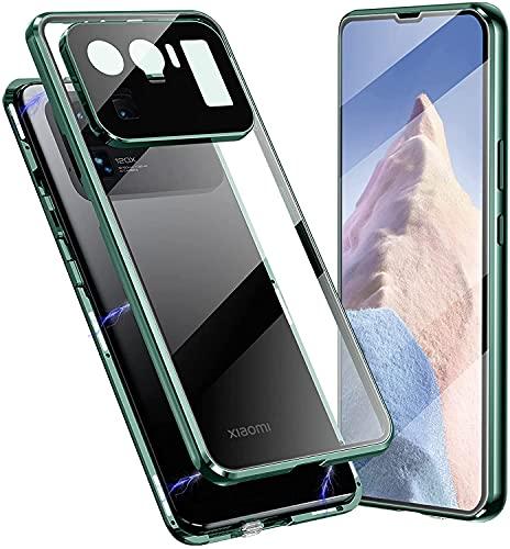 SIMao Carcasa para Xiaomi Mi 11 Ultra 5G Funda 360 Grados Protección Integrada Protector de Lente de Cámara Anti-Rasguño Transparente Vidrio Templado Case Metal Bumper Adsorción Magnética Cover,Verde