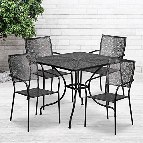 Flash Furniture Commercial Grade 35.5' Square Black Indoor-Outdoor Steel Patio Table Set with 4 Square Back Chairs
