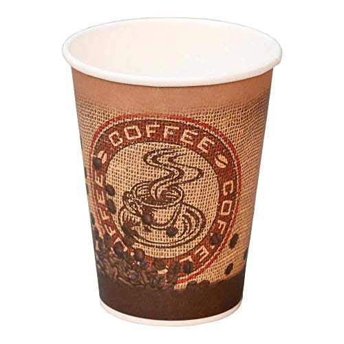 50x Coffee to go Becher, Kaffeebecher aus Hartpapier mit Kaffeemotiv, 200 ml
