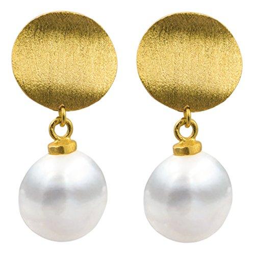 Secret & You - Frauen Perlen Ohrringe Süßwasser Zuchtperlen - Barockperlen 9-10 mm erhältlich mit hochwertigen 925 Sterlingsilberbeschlägen - In Silber oder Vergoldeten Optionen