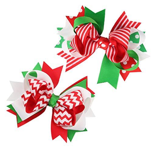 Amosfun 2PCS Christmas Hair Bows Grosgrain Ribbon Bowknot Hair Clip for Children Baby Girls Holiday Hair Accessories