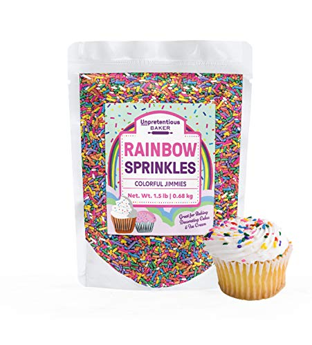 Rainbow Baking Sprinkles, 1.5 lbs. by Unpretentious Baker, Bulk Quantity for High-Volume Use & Better Value