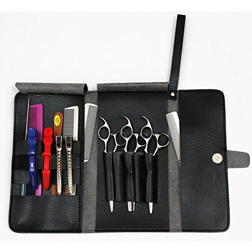 NACHEN Outils de Coiffeur Scissors Pockets Holster en Cuir PU Outil Peigne, Black