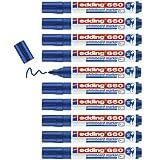 Edding 660 marcador para pizarras blancas - azul - 10 rotuladores - punta redonda 1.5-3 mm - rotulador para pizarra blanca, borrado en seco - pizarra blanca, flipchart, tablón de notas - recargable