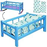 alles-meine.de GmbH UMBAUBAR - großes Holz - Puppenbett & Puppenwiege - 43 cm groß - mit Bettzeug - - Bunte Farben - Holzwiege Schaukelbett - für Puppen groß - Bett Holzpuppenwie..