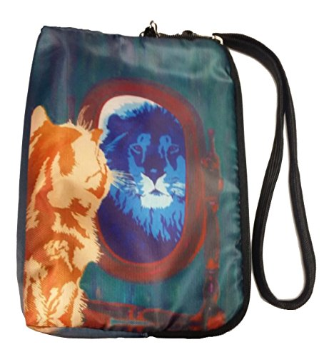 Cat Wristlet Zip-top with Detachable Strap and Charm - Vegan - From My Painting, Salvador's Reflection
