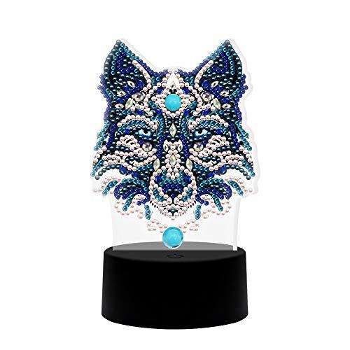 Slibrat Diamantmalerei LED-Licht, Wolf Stickerei Nachtlampe, DIY Licht für Home Decoration, Schlafzimmer Licht