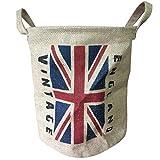 condello casa plegable redondo tejido yute tela de lino Vintage de almacenamiento cesta de basura de soporte organizador cubo cesta para estanterías armario de baño con asas bandera, Inglaterra