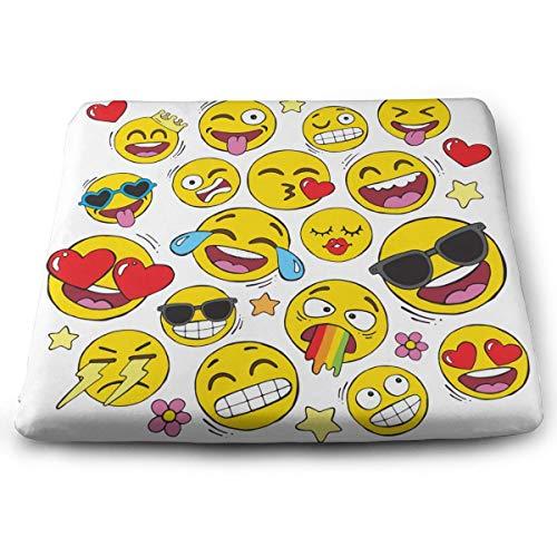 BathWang Sitzkissen aus Memory-Schaumstoff Autositzkissen zur Erhöhung – Bürostuhl-Kissen – lustiges Galaxie-Emoji