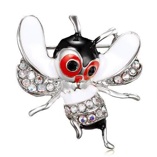 Broches de lagarto de cristal para mujer, lindo abeja, libélula, escarabajo, gusano de seda, alfileres de animales, esmalte, accesorios de joyería de diamantes de imitación-4