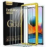 ivoler 4 Stück Panzerglas Schutzfolie für Xiaomi Redmi Note 10 Pro/XiaomiPocoF3 5G / XiaomiMi 11i / Black Shark 4, Panzerglasfolie Mit Positionierhilfe, 9H Festigkeit, Anti-Kratzen, Anti-Bläschen