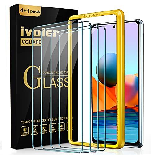 ivoler 4 Unidades Protector de Pantalla para Xiaomi Redmi Note 10 Pro y XiaomiPocoF3 5G y XiaomiMi 11i y Black Shark 4, Incluye Marco de Instalación Fácil, Cristal Vidrio Templado Premium