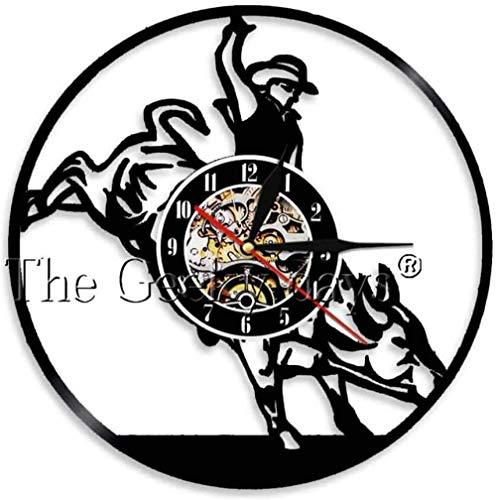 zgfeng Reloj de Vinilo de Vaquero Vintage del Salvaje Oeste, Reloj de Pared Hecho a Mano con Estrella de Marca Salvaje Occidental, Reloj de Arte, decoración de salón, Regalo para Hombres