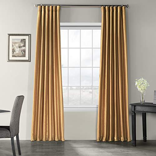 HPD Half Price Drapes PDCH-KBS8-84 Vintage Textured Faux Dupioni Silk Curtain (1 Panel), 50 X 84, Flax Gold