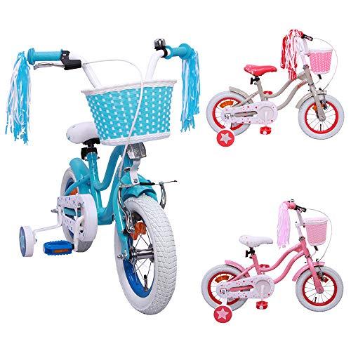 AMIGO Superstar - Kinderfiets - 12 inch - Meisjes - Met zijwieltjes en terugtraprem - Vanaf 3 jaar - Blauw