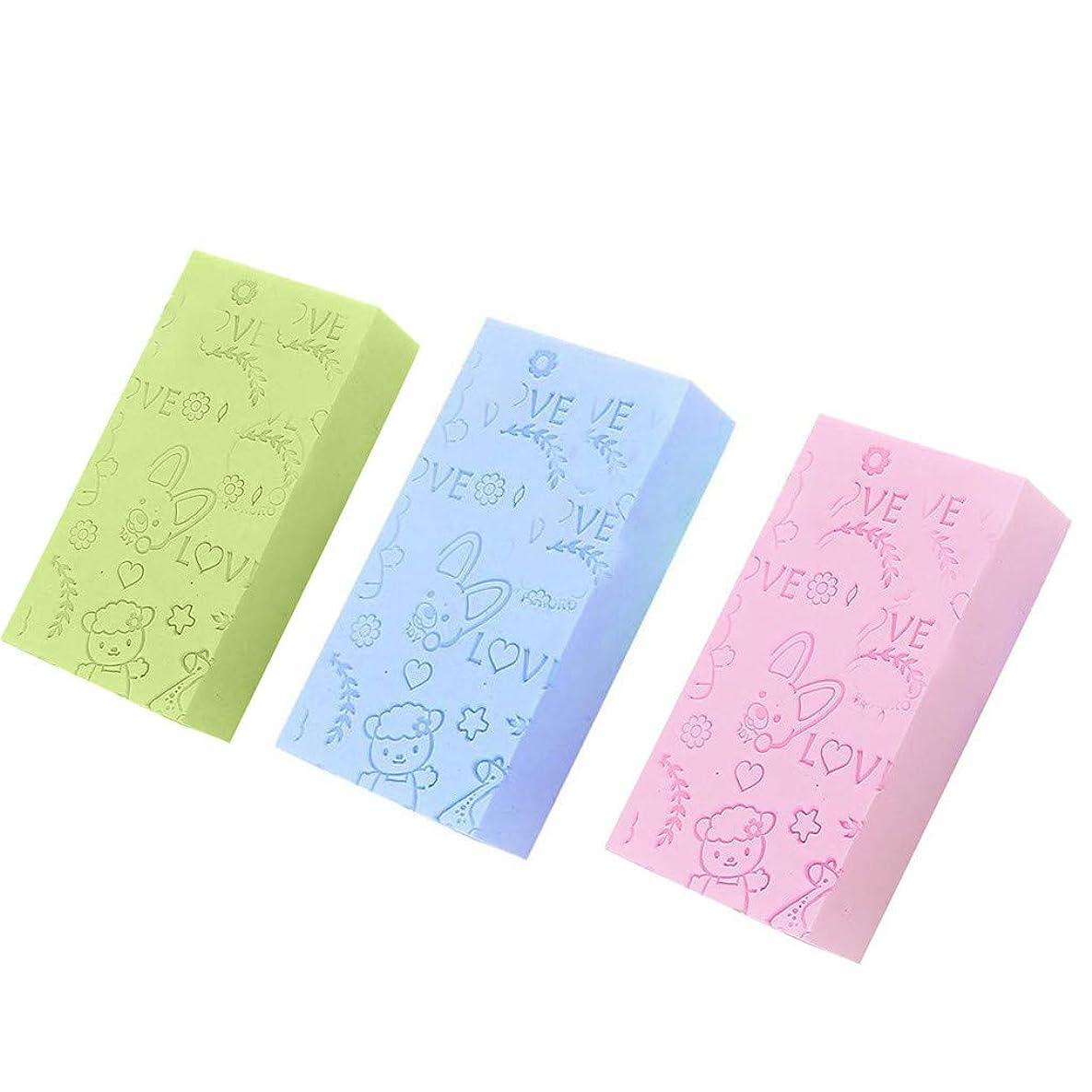 バススポンジ、ボディマッサージジェントルエクスフォリエイティングディープクレンジングベビーアダルトオイリー、ドライ、コンビネーションまたは敏感肌の使用に適しています3個(緑、ピンク、青) (3個, 多色)