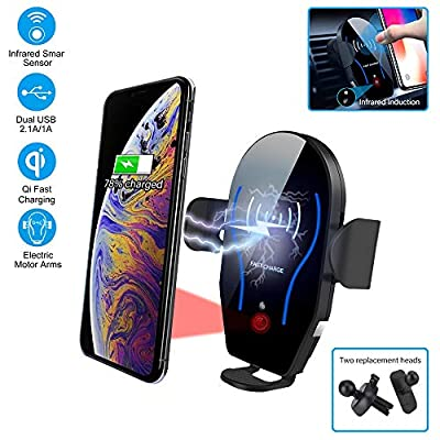 Rtwrtne Car Wireless Charger, Air Vent Phone Holder Mount Infrared Smart Sensing Automatic Clamping 10W Qi Fast Wireless Charging Cradle for Cell Phone Dual USB (black)