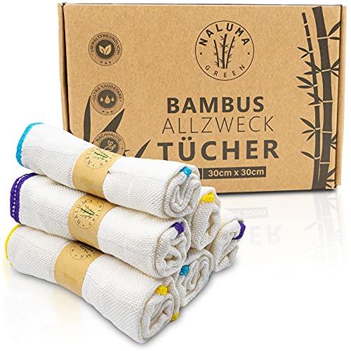 Premium Bambus Tücher 6 STK, 30x30cm - waschbar - Nachhaltig - Bambustuch Fenster, Allzwecktücher, Bambus Geschirrtücher, Putzlappen, Spültuch - Putztücher für Spiegel & Fenster