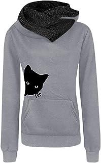 9c39022101180 SSYUNO Women Casual Crew Neck Hoodies Pullover Shirts Tops Blouse Cat  Printing Sweatshirt