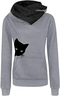 Ximandi Women Cute Cat Print Kawaii Hoodies Casual Long Sleeve Pullovers Cat Tops