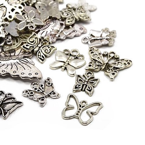 Tibetan Butterfly Charm Pendants Antique Silver 5-40mm Pack of 30g